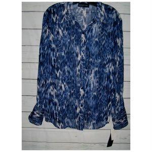 NEW Jones Blue Black Metallic Button Down Shirt XL